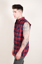 Brooklyn Cloth Red Sleeveless Plaid Woven Shirt