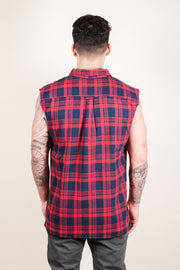 Brooklyn Cloth Red Sleeveless Plaid Woven Shirt for Men