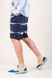 Navy Tie Dye Stripe Poplin Shorts for Men