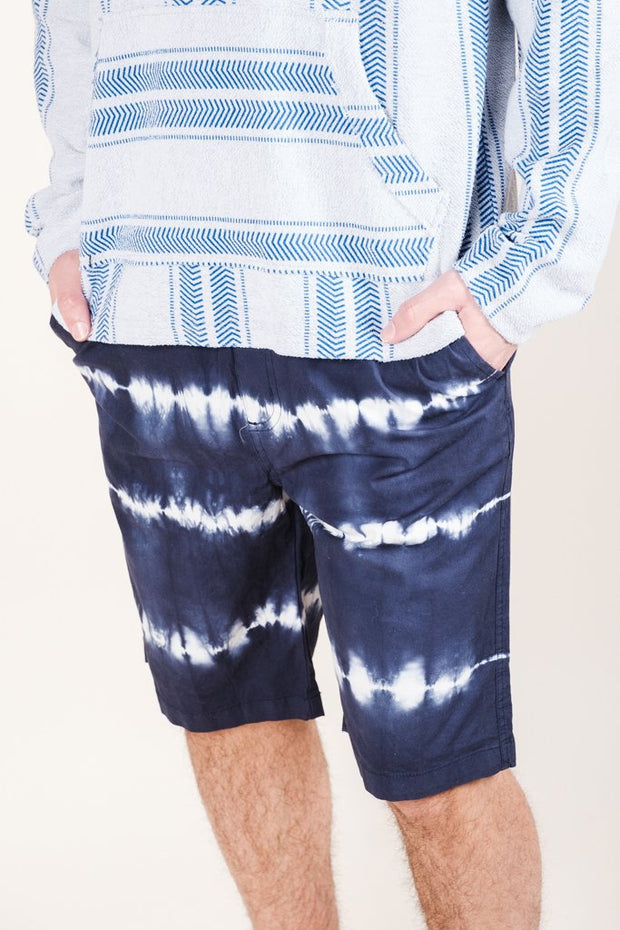 Men's Navy Tie Dye Stripe Poplin Shorts