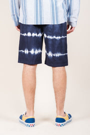 Brooklyn Cloth Navy Tie Dye Stripe Poplin Shorts for Men