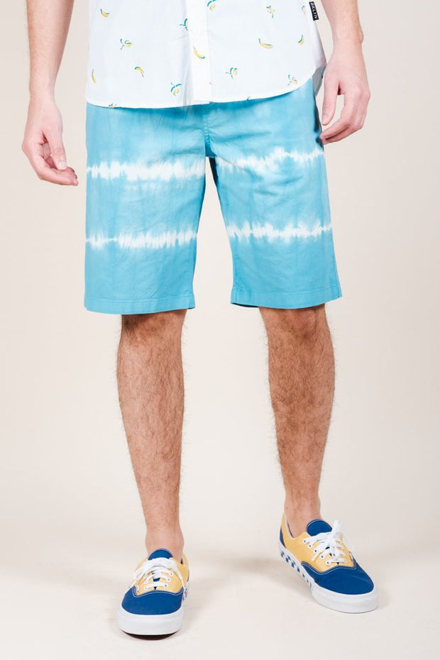 Blue Tie Dye Stripe Poplin Shorts