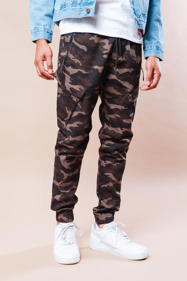 Camo Cargo Twill Jogger Pants for Men