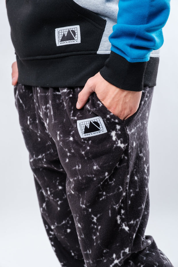 Black Marble Polar Fleece Jogger