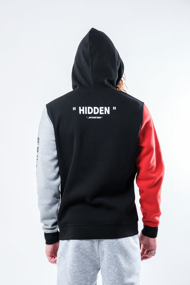 Black Hidden Color Blocked Hoodie