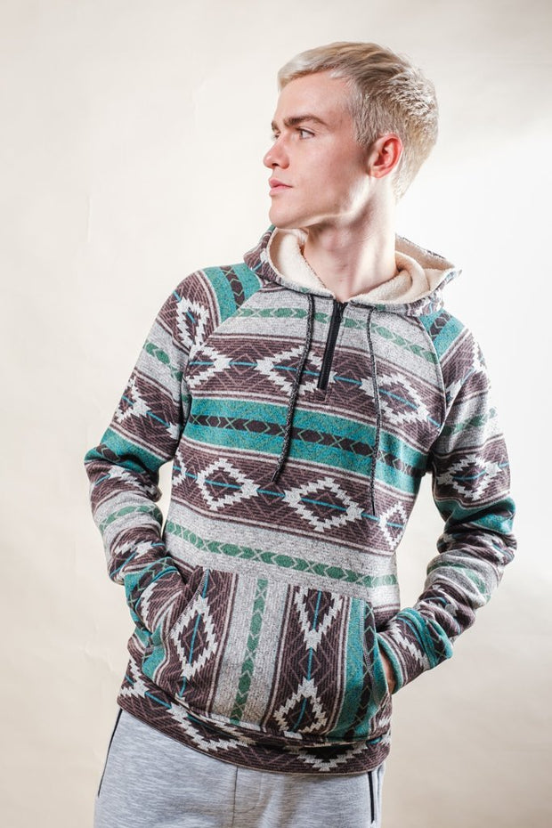 Teal Baja Quarter Zip Hoodie for Men