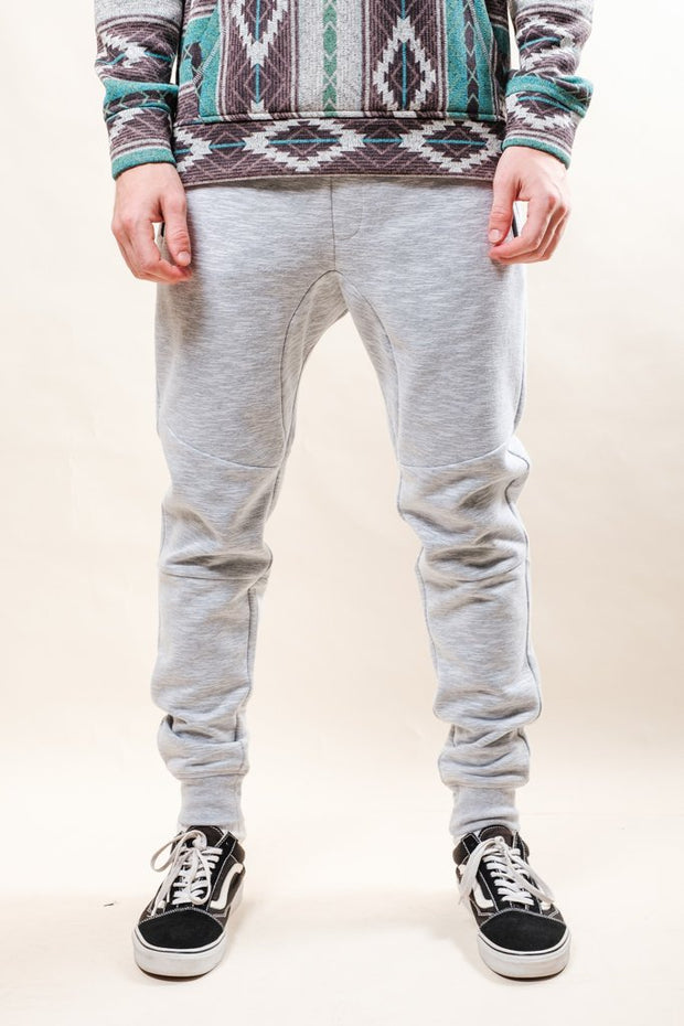 Light Grey Streaky Slub Fleece Jogger Pants