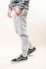 Light Grey Streaky Slub Fleece Jogger Pants for Men