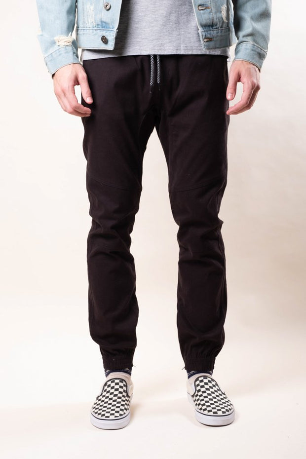 Black Ankle Zip Twill Jogger Pants