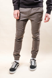 Charcoal Grey Side Zipper Pocket Twill Jogger Pants for Men