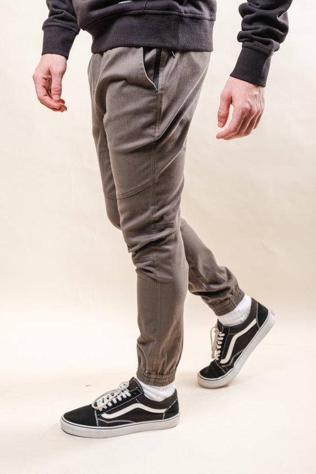Charcoal Grey Side Zipper Pocket Twill Jogger Pants