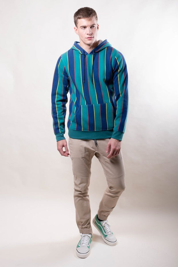 Brooklyn Cloth Green Vertical Stripe Hoodie for Men