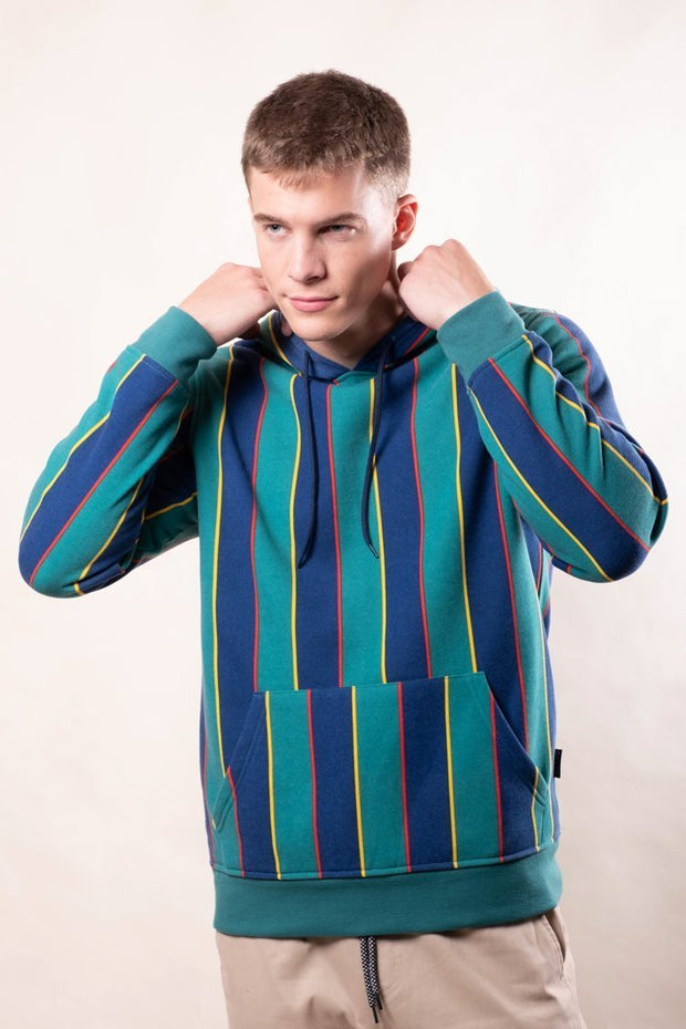 Men's Green Vertical Stripe Hoodie