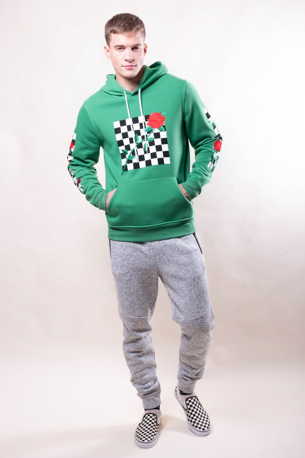 Green Rose Checkered Hoodie