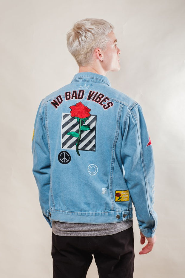 No Bad Vibes Denim Jacket