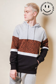 Original Garment Leopard Color Blocked Hoodie