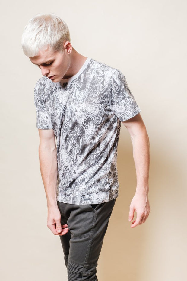 White Oil Slick Print Tee