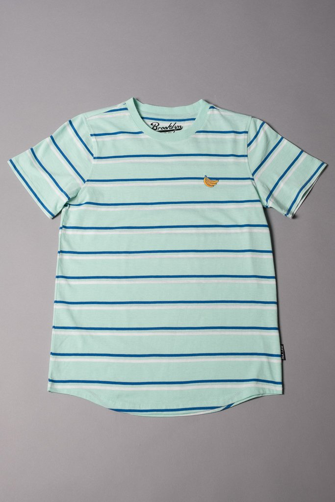 Boys' Mint Double Stripe Banana Embroidered Tee