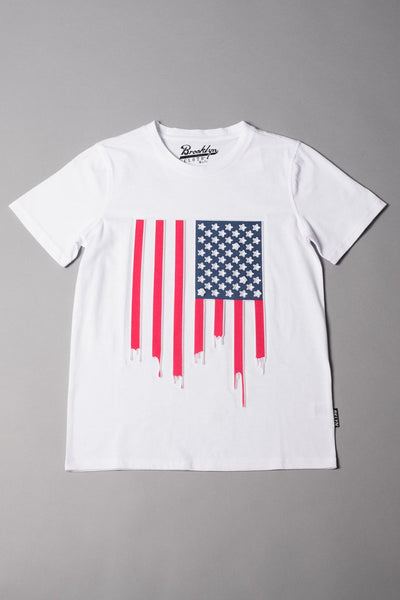 Boys' Red White and Blue Drippy Flag Tee