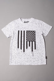 Boys' White Space Dye Drippy Flag Tee