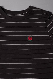 Boys Black Rose Striped T-Shirt