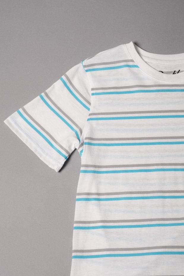 Boys White Striped Tee