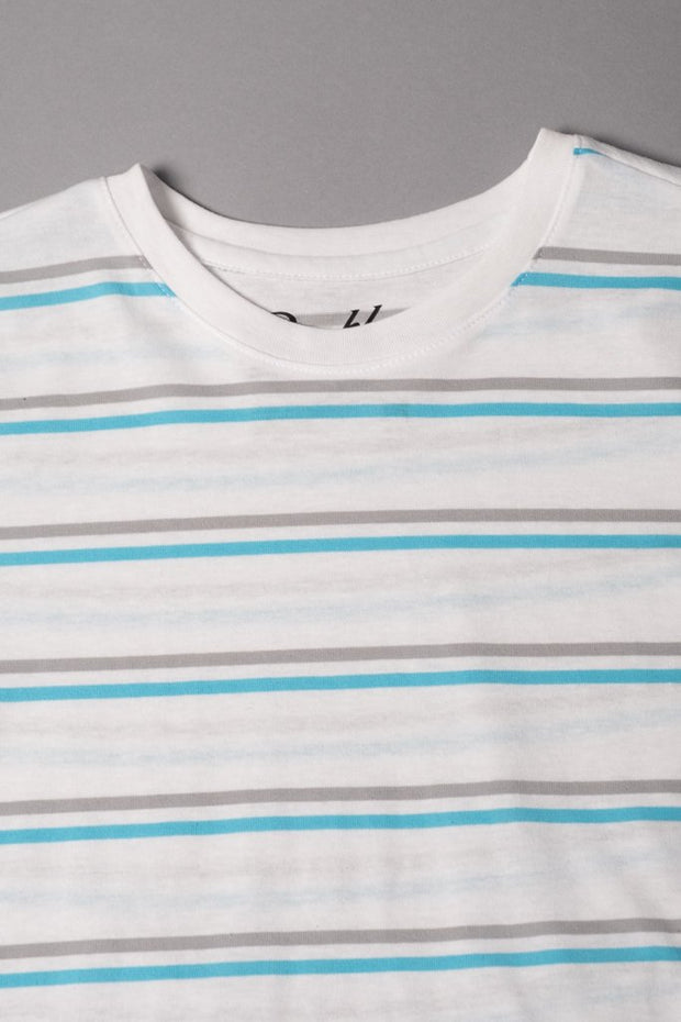 Boys' White Double Striped Tee