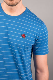 Royal Blue Rose Embroidered Stripe Tee