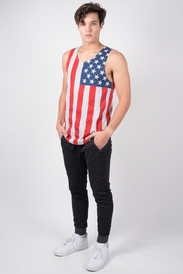 Brooklyn Cloth Grey American Flag Tank Top