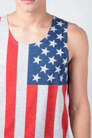 Grey American Flag Tank Top for Men