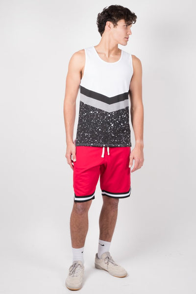 Men's Red French Terry Basketball Shorts