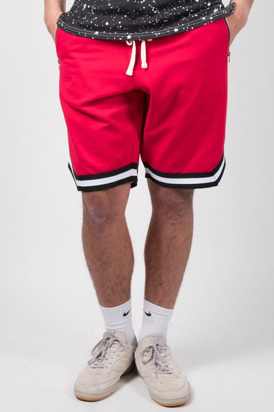 Red Striped French Terry Basketball Shorts
