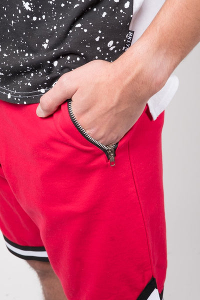 Red French Terry Basketball Shorts