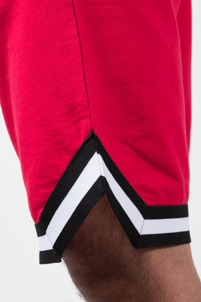 Red French Terry Basketball Shorts for Men