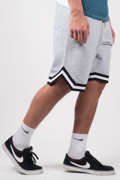 Heather Grey Striped French Terry Basketball Shorts