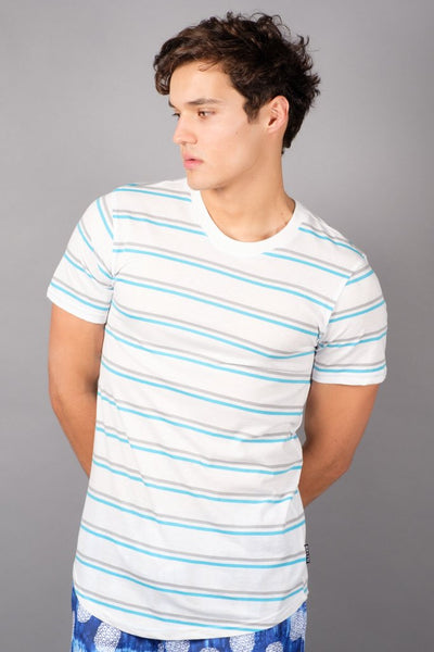 White Double Stripe Tee for Men