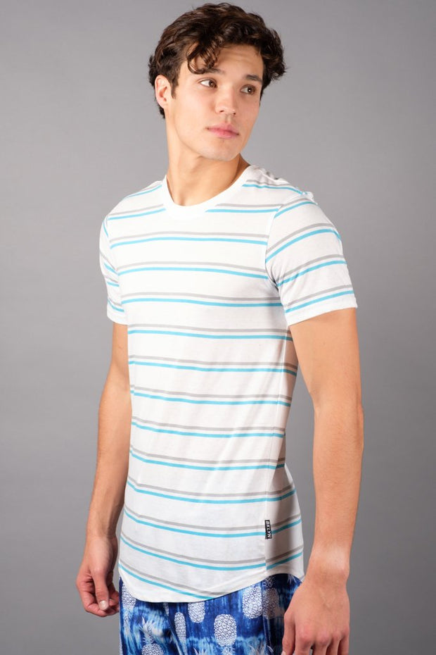 White Double Stripe Tee