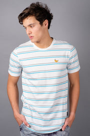 Men's White Banana Embroidered Stripe Tee