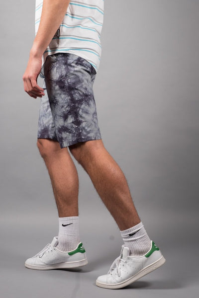 Men's Charcoal Grey Tie Dye Poplin Shorts