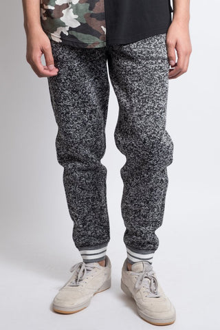 Black Marl Varsity Men's Jogger Pants