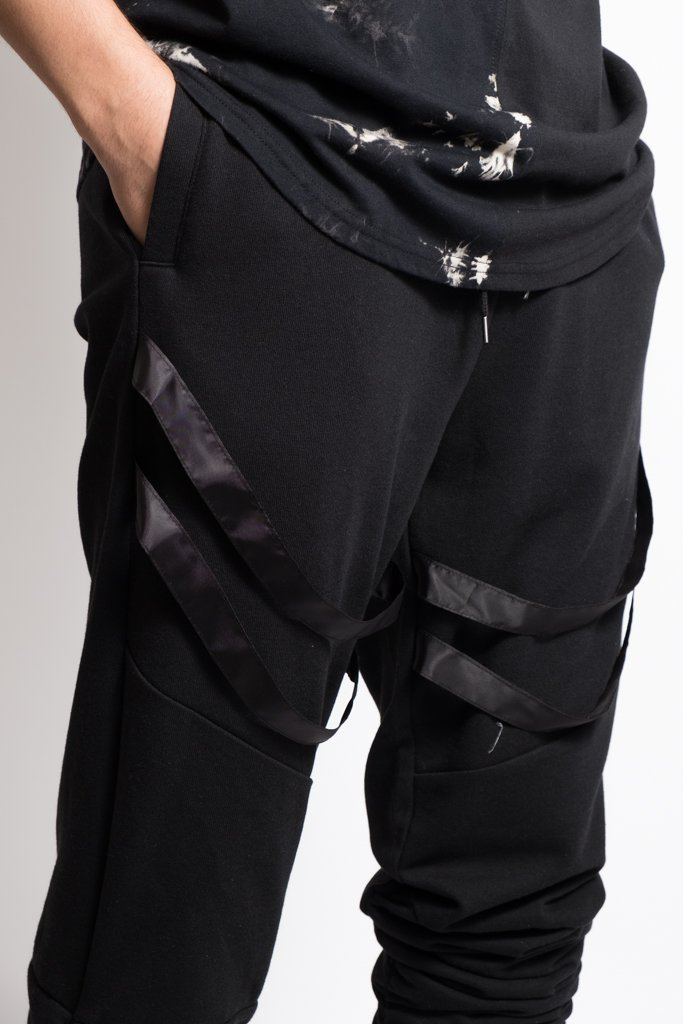 Black Strapped Jogger Pants