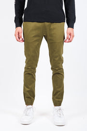 Army Green Side Zipper Pocket Twill Jogger Pants