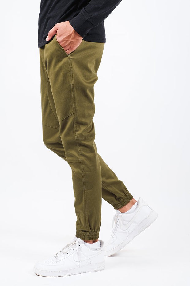 Army Green Side Zipper Pocket Twill Jogger Pants for Men