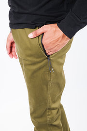 Men's Army Green Side Zipper Pocket Twill Jogger Pants