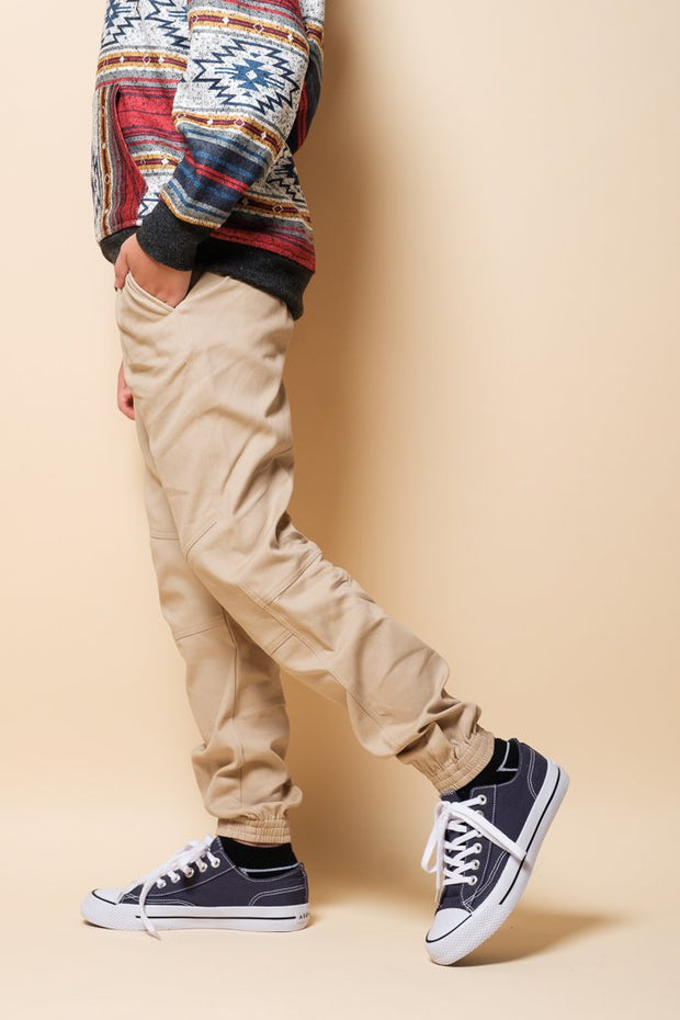 Boys Khaki Side Zip Twill Jogger Pants