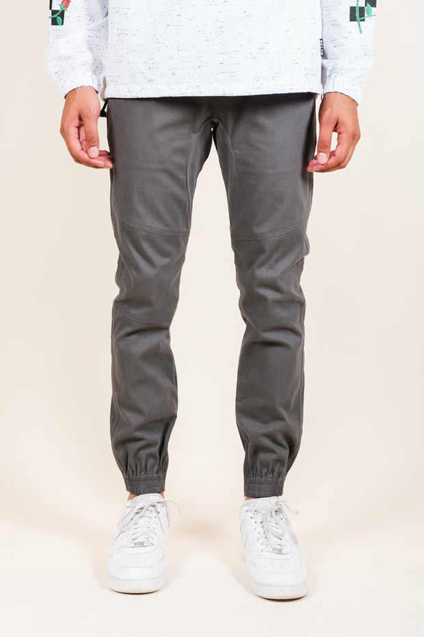 Charcoal Grey Ankle Zip Twill Jogger Pants for Men