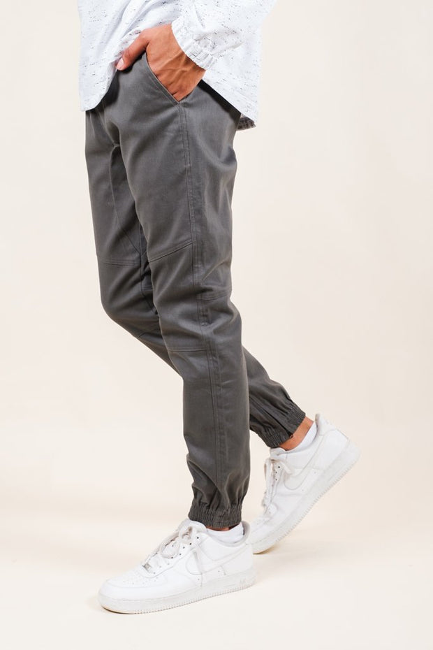 Charcoal Grey Ankle Zip Twill Jogger Pants