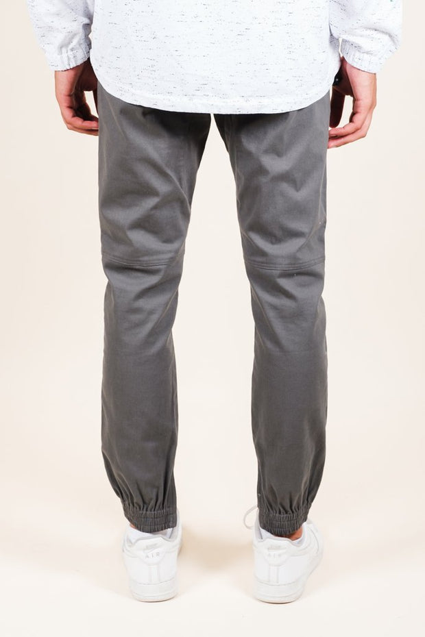 Brooklyn Cloth Charcoal Grey Ankle Zip Twill Jogger Pants