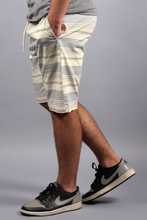 Black Striped Poplin Shorts