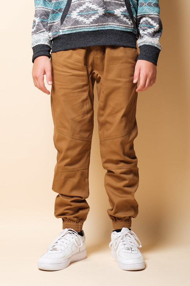 Boys Tobacco Zipper Jogger Pants